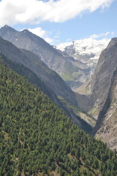 Profundo valle glaciar de un tributario del río Chandra, cerca de Keylong (Himachal Pradesh, India)